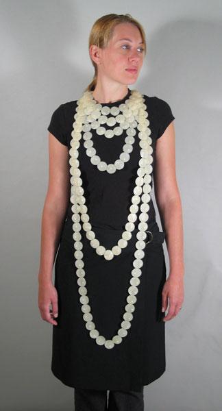 "Yevgeniya Kaganovich Pearl Necklace IV, fresh water pearls, latex sheet, largest strand: 7 ¾"" x 38 ¾"" x ¼"", 2005"