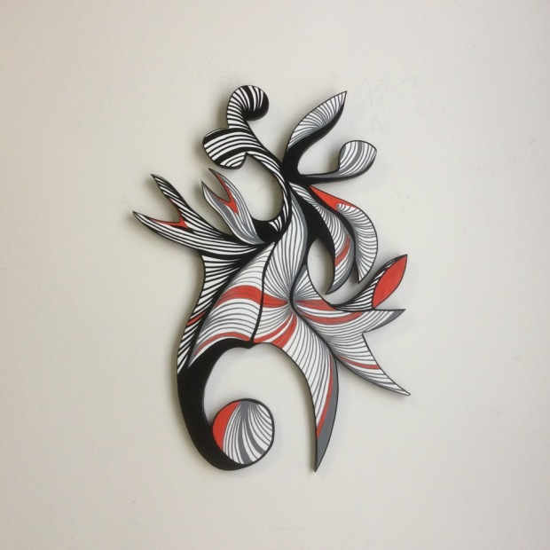 Red, Grey, Black; acrylic on wood; 23