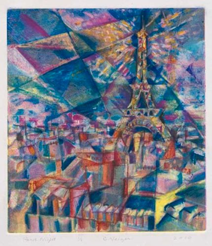 "2010Four-color monoprint, 1/119.25"" x 15""Paris sceneProduction costs, price"