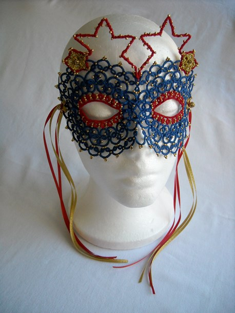 Super Heroine Mask, cotton and polyester thread, glass beads, ribbon, wire, 7