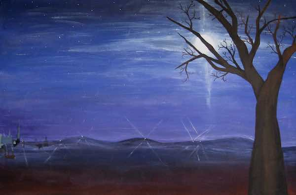 "Blue Moonrise; 1976; acrylic on canvas; 36"" x 24"""