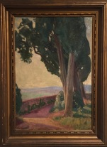 """Tall Trees (1910 or 1914)""; Oil on canvasboard; 13.5 x 19.5 in. unframed"