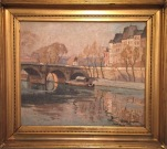 """Au Bord du Seine (1922)""; Oil on canvas; 18 x 22 in. unframed"