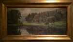 """Lakeside (1904)""; Oil on canvas; 10.5 x 22in. unframed"