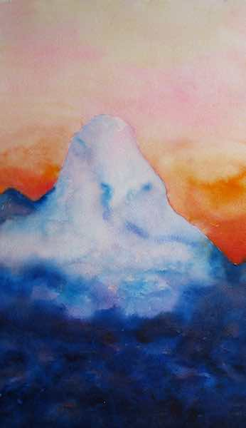 "Mystical Mountain; 2008; watercolor on paper; 13.5"" x 21"""