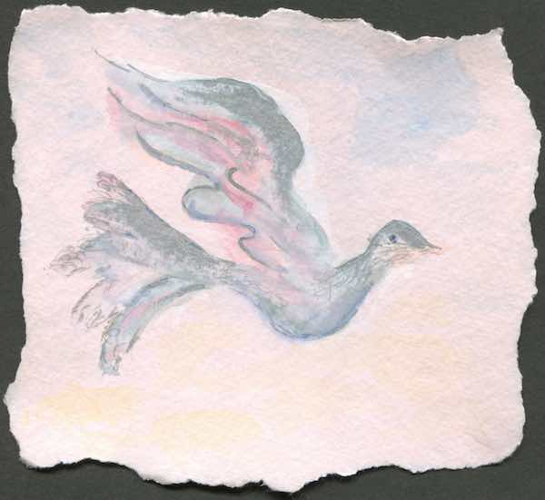 "Peace Profound (Silvery Dove); 2005; watercolor on torn pink paper; 5.5"" x 5.25"""