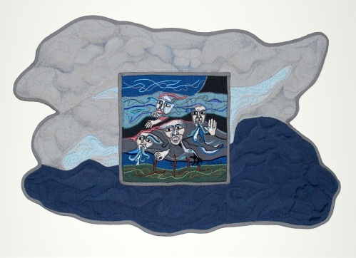 """Menacing Clouds""; Hand-stitched embroidery, applique, quilting; 17 x 23 inches"""