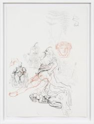 "Rebecca Walz + Ryan Pfeiffer; A Mummy on Ice is Air;Graphite, Chalk Lead, Charcoal on Paper; 22"" x 30""; Starting Bid $1000.00"