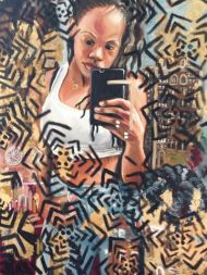 "Rebecca Ebben; Braids/Bricks; Oil Paint with Gold Leaf on Canvas; 30"" x 40""; Starting Bid $275.00"