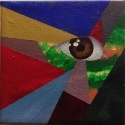 "Dionne Victoria; Eye See; Mixed Media on Canvas; 6"" x 6""; Starting Bid $30"