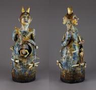 "Roberta Malkin; Duplicity; Ceramic; 25"" x 9.5"" x 10""; Starting Bid $450"