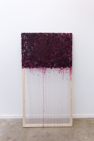 "Emily Nelson; Hemorrhage; Pine, Silk Organza, Blackberries; 60"" x 33""; Starting Bid $225.00"