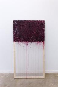 "Emily Nelson; Hemorrhage; Pine, Silk Organza, Blackberries; 60"" x 33""; Starting Bid $225.00"